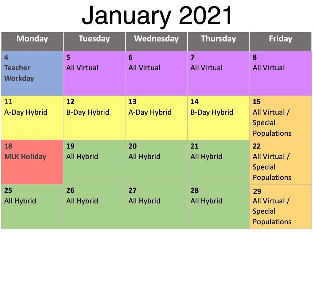 Lexington Four Modified Instructional Schedule for January 2021