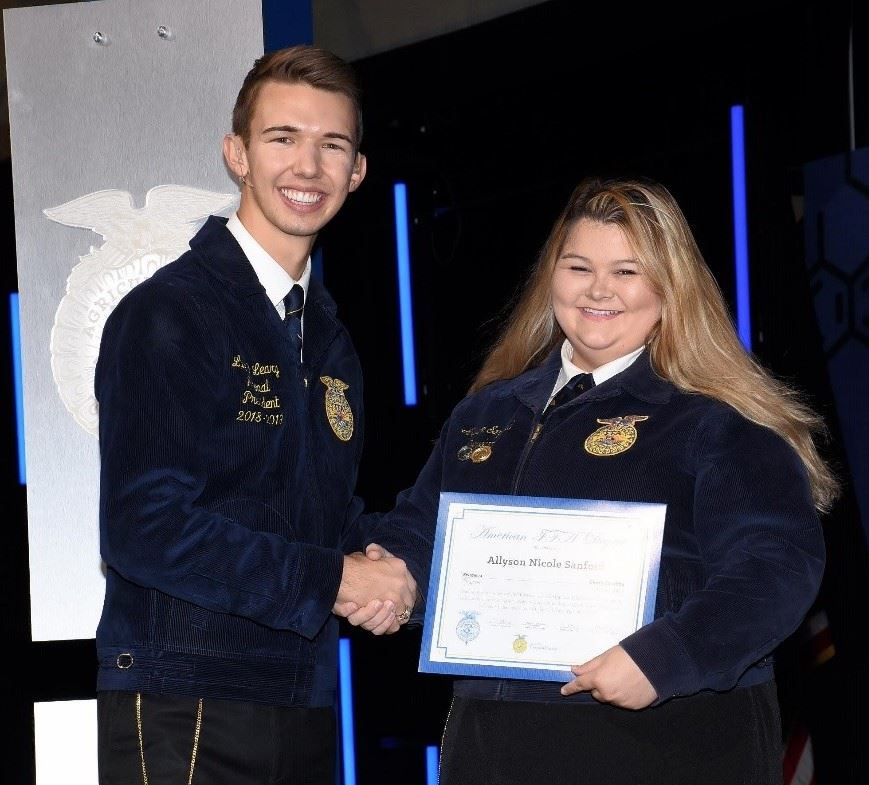 SHS Graduate Allyson Sanford Receives National American FFA Degree