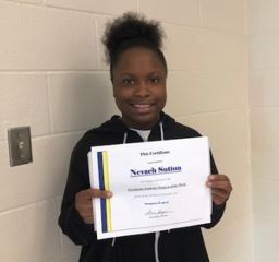 SHFA Student of the Week (November 5) - Nevaeh Sutton
